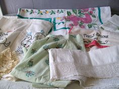 Vintage Lot of Linens Craft Cutter Linens by VintagePlusCrafts, $10.00