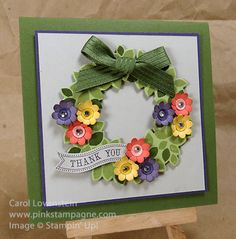 Carol's summer wreath card: Wondrous Wreath & its framelits, Itty Bitty Banners & its framelits, Boho Blossom punch, & more. All supplies from Stampin' Up! Card Making Inspiration, Making Ideas, Flower Cards, Paper Flowers, Scrapbook Cards, Scrapbooking, Wondrous Wreath, Envelopes, Summer Wreath