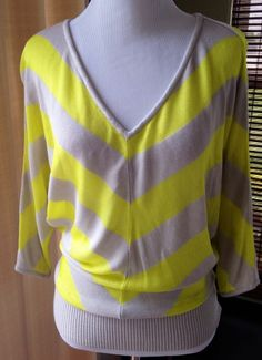 Bebe Bright Yellow And Gray Top Shirt Dolman  Sleeve Size XS Nice! #bebe #KnitTop