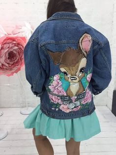 Disney Bambi hand painted denim jacket. ••• ! PLEASE READ ! Jacket NOT included in price. The price for PAINTING, not for jacket. This jacket already has the owner, its an example of my work. ••• You can make your wardrobe as a Museum. This Disney Bambi denim vintage jacket is