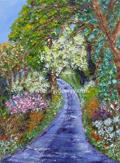 """""""Hollow Way I"""" by Nuala Holloway - Oil on Canvas Irish Art, Countryside, Oil On Canvas, Ireland, Country Roads, Landscape, Painted Canvas, Irish, Oil Paintings"""