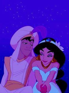 Aladdin and Jasmine (Aladdin) (c) 1992 Hanna Diyab & Walt Disney Animation Studios Walt Disney, Disney Pixar, Disney Couples, Cute Disney, Disney And Dreamworks, Disney Magic, Disney Art, Disney Characters, Jasmine Disney