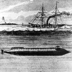 1863 U.S. Submarine, the Alligator - Brutus de Villeroi designer - 1863. Designed to launch diversto plant bombs under surface ships, it was the first submarine ordered and built for the US Navy, first to have a diver's lockout chamber, first to have on-board air compressors for air renewal and diver support, first to have an air-purifying system, and the first to have electrically detonated limpet mines.