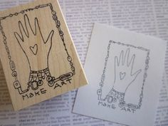 make art wood mounted red rubber stamp KP5021F by rubbermoonstamps, $7.75