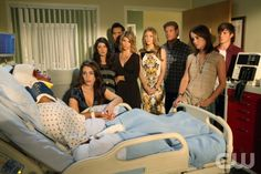 """90210 -- """"Til Death Do Us Part"""" -- Image: NO501a_160 -- Pictured (L-R): Tristan Wilds as Dixon, Jessica Lowndes as Adrianna, Shenae Grimes as Annie, Michael Steger as Navid, Lori Loughlin as Debbie, AnnaLynne McCord as Naomi, Trevor Donovan as Teddy, Jessica Stroup as Silver, and Matt Lanter as Liam -- Photo: Scott Humbert/The CW -- ©2012 The CW Network. All Rights Reserved"""