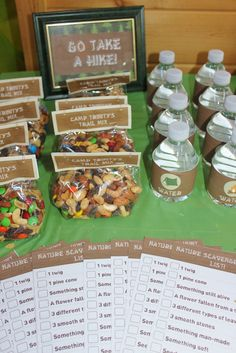 """We planned to have a scavenger hunt and there were """"Camp Trinity"""" Trail Mix bags made up and bottles of water for the girls to take with them. >>> Read more info by clicking the link on the image. #CampingTricks"""