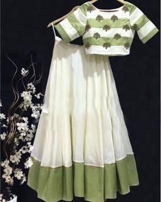 Designer lehenga off white lehenga readymade blouse lehenga choli for women fancy lehenga india Choli Designs, Lehenga Designs, Blouse Designs, Blouse Lehenga, Lehnga Dress, Lehenga Choli, Bridal Lehenga, Cape Lehenga, Cotton Lehenga
