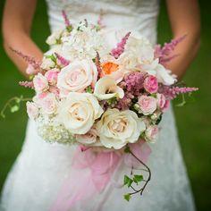 Ultra Romantic Bride's Bouquet: White Hydrangea, White Calla Lilies, Cream Roses, Blush Roses, Pink Spray Roses, Peach Juliet David Austin English Garden Roses, Pink Astilbe + Green English Ivy
