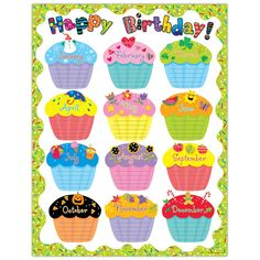 Creative Teaching Press Poppin' Patterns Happy Birthday Poster Chart by manufacturer): Celebrate birthdays throughout the year! Use to decorate bulletin boards, hallways, doors, and common areas! Birthday Chart Classroom, Birthday Bulletin Boards, Birthday Charts, Classroom Decor, Preschool Birthday Board, Classroom Posters, Chevron Classroom, Classroom Teacher, Classroom Displays
