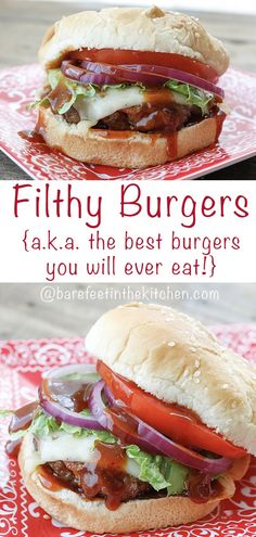 Pulled Pork + Ground Beef + Bacon add up to Filthy Burgers {aka the BEST burgers. - Recipes - Main and Sides - Hot Sandwich Beef Bacon, Hamburger Meat Recipes, Beef Recipes, Cooking Recipes, Healthy Recipes, Hamburger Ideas, Barbecue Recipes, Cooking Tips, Soup Recipes