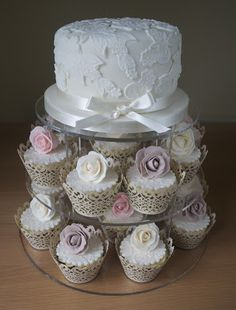 Sugar Ruffles, Elegant Wedding Cakes. Barrow in Furness and the Lake District, Cumbria: Vintage Rose & Lace Cupcake Tower