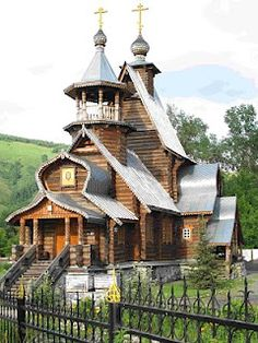 Beautiful wooden Orthodox church in Gorno-Altaisk, the capital of the Altai Republic, that is a Federal subject of Russia.