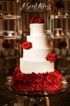 Red Rose Cake | Design & Planning: A Good Affair Wedding & Event Production | Photographer: Brandon Kidd