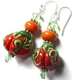 Lampwork Earrings, Handmade Artisan Lampwork Beads, Halloween Earrings, Pumpkin Earrings, Sterling Silver Earwires and Components