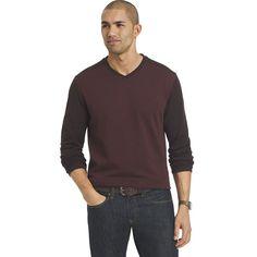 Big & Tall Van Heusen Jaspe Classic-Fit Colorblock V-Neck Sweater, Men's, Size: Xl Tall, Dark Red