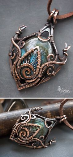 #fantasyart wire wrapped necklace // #wirewrap copper wires, mysterious / dramatic / statement necklace with blue stone