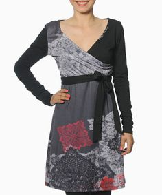 Black & Gray Beatriz Surplice Dress | Daily deals for moms, babies and kids