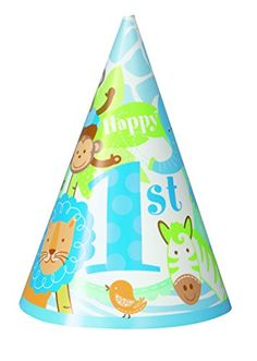 Unique Party Safari 1st Birthday Party Hats (Pack of 8, Blue)