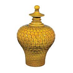 Large Lidded Ceramic Jar In Chartreuse Glaze 152-015