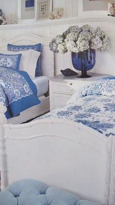 Pretty blue and white french country bedroom decor