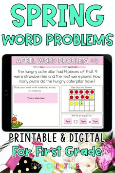 Check you this set of 24 digital and printable SPRING word problems for first grade! Use these in Google Classroom, Seesaw, or print out books for your students! The word problem types included are joining, separating, and comparing numbers within 20 with unknowns in all positions. Perfect for distance learning or in-person instruction with the flexibility to print-out or assign digitally. Ideal for quick assessments! Make sure to get your set of APRIL1st grade word problems today!