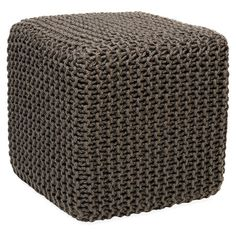 Upholstered in woven jute, this stylish cube ottoman offers a natural touch for your living room or home library.  Product: Pouf...