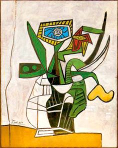 Pablo Picasso: Flower vase [Gift of the artist to Paul Roux, founder of La Colombe d'Or in Saint Paul de Vence, France] Pablo Picasso, Kunst Picasso, Picasso Cubism, Cubism Art, Picasso Paintings, Picasso Flowers, Picasso Still Life, Guernica, Painting & Drawing