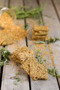 Keto Roasted Herb Crackers ... crunchy, grain-free, keto flax crackers made with ground flax seed, celery and fresh herbs ...baked in the oven until crisp .