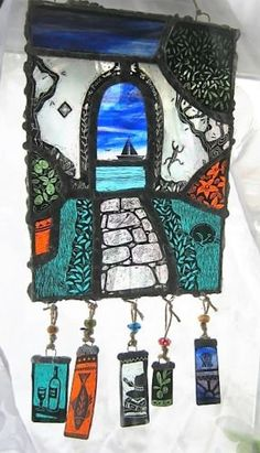 Stained-Glass-Art-Panel-garden-dog-sea-boat-holiday-by-R-H-Revelle-Handmade