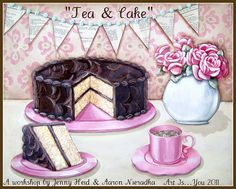 """Tea & Cake...a workshop with Jenny & Aaron at """"Art Is"""" ..this October in Danbury CT! Come create your own mixed media cake art with us! :)"""