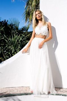 Wedding dresses perfect for a beach wedding: we're obsessed with these Grace Loves Lace styles, including a lacy white crop top and ball skirt. Click for more pictures!