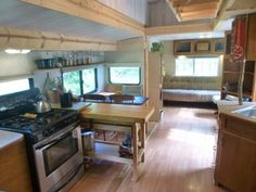 This Kirkwood Travel Trailer Tiny House on Wheels is for sale starting in June 2015 in case you're interested. This custom redesigned travel trailer to tiny home conversion even… Tiny House Big Living, Tiny House Swoon, Tiny House On Wheels, Cottage Living, Rv Living, Living Room, Tiny Cabins, Cabins And Cottages, Tiny Houses For Sale