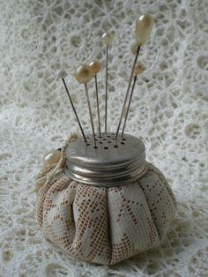 Pin cushion, using lid of old salt jar