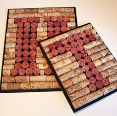 Cork art | Monogram Wine Cork Wall Art | I love how you can still see the cork labels