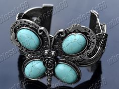 Ancient Tibetan silver genuine turquoise butterfly Cuff Bangle Bracelet jewelry