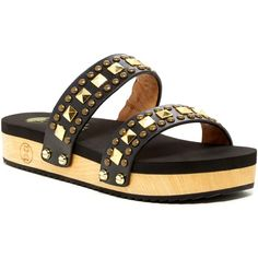 Flogg Neverland Slide Sandal ($60) ❤ liked on Polyvore featuring shoes, sandals, black, black strappy sandals, black sandals, strappy platform sandals, slide sandals and slip on shoes