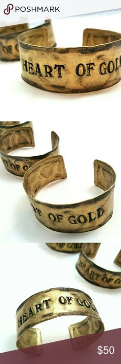 """Heart of Gold"" Artisan Antique Brass Cuff Antique brass finished cuffs bracelet hand stamped ""HEART OF GOLD"". Easily fits to any wrist size.  Handcrafted in Tennessee by Lorraine Frances   Each cuff is one of a kind and may differ slightly from photos  1713 Lorraine Frances  Jewelry Bracelets"