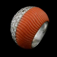 Retro fluted Coral and Pave set diamond dress ring of domed turban design by Cartier, Paris c.1950's.