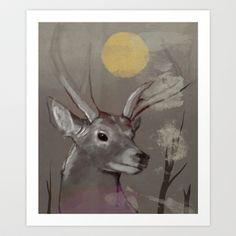 Deer Art Print by Federico Detor Simoni - $20.00
