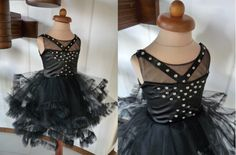 NORRA  Black Lace Tulle Flower Girl Dress by AtelierArtistia