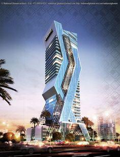 Tower Concept designed by Mahmoud Ghonem Office Building Architecture, Unique Architecture, Futuristic Architecture, Facade Architecture, Future Buildings, Architecture Concept Drawings, Building Concept, Tower Design, Amazing Buildings