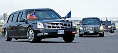 A pair of 2005 DTS style Presidential limousines in the motorcade. C 5 Galaxy, United States Secret Service, Pilot Car, Police Lights, Executive Protection, The War Zone, American Auto, Air Force Ones, The Beast