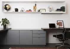 Home office, steel shelves, custom office cabinets | Westlake Residence - Austin Texas | Sanders Architecture