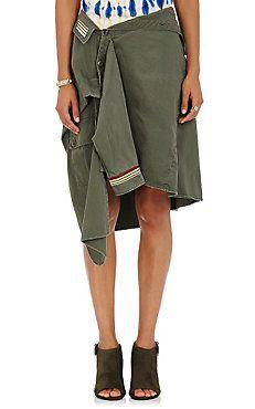 Military Shirt-Detail Skirt