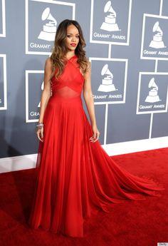 Rihannas Grammys Dress 2013 Overshadows Her Dubious Romantic Choices (PHOTOS)