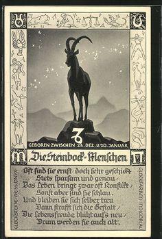 """Alte Ansichtskarte: AK Sternzeichen """"Steinbock"""" mit den Eigenschaften eines Steinbock-Menschen"""