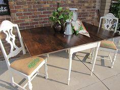 Dark Walnut and Painted Drop Leaf-Looks like a farm style table
