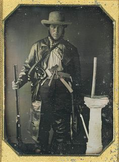 "ca. 1849, [daguerreotype with applied color, handwritten note inserted in case, ""Dr. MacBeth in the costume in which he crossed the plains, fleeing from the cholera of which he died""]  via the George Eastman House Collection"