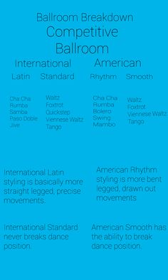 The difference between Competitive Ballroom in American and International Standard