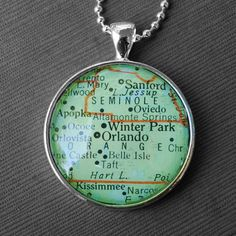 Necklace with map of Greater Orlando area. I grew up close to the Belle Isle area, more of a neighborhood than an actual town. Orlando Map, Orlando Florida, Florida Usa, Jewelry Necklaces, Map Necklace, Pendant Necklace, Jewellery, Bracelets, Vintage Florida